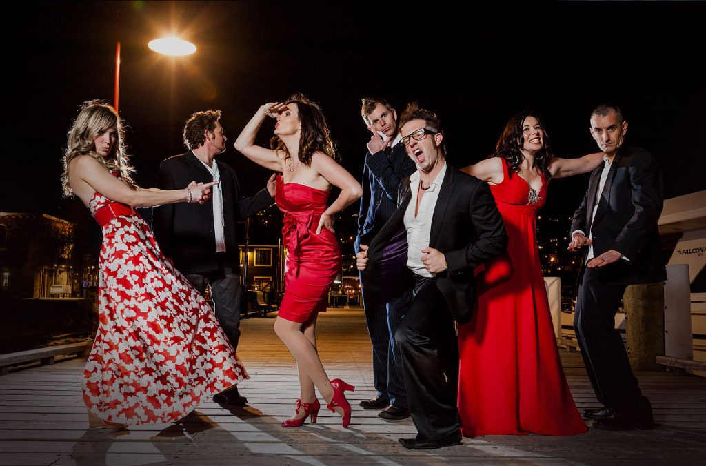 Queenstown corporate event band LA Social Club dressed in red