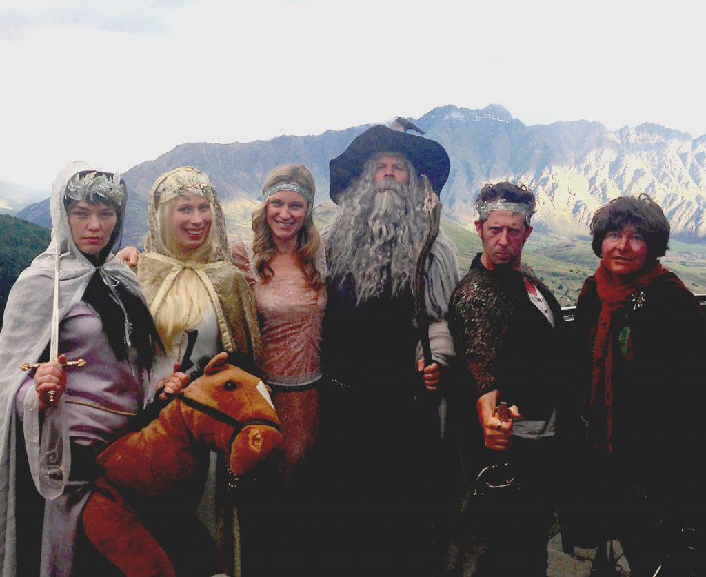 Singers dressed in Lord of the Rings theme for corporate event in Queenstown New zealand