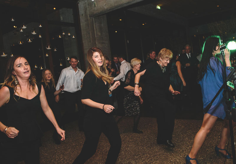Full wedding dancefloor lead by Queenstown Wedding Band LA Social singer Tiffany